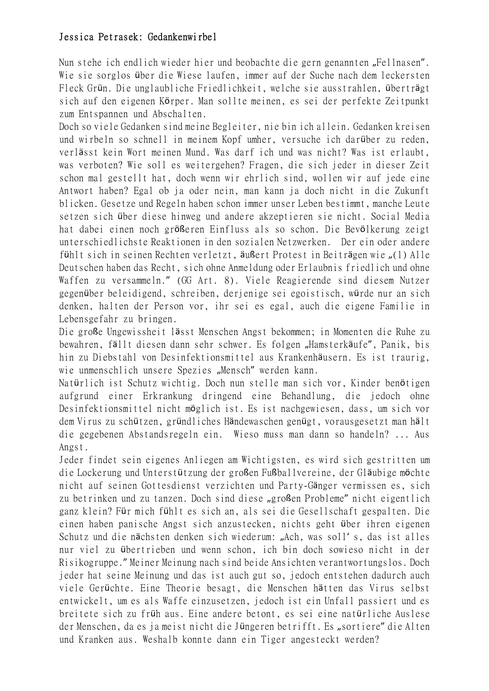 Gedankenwirbel (Teil 1)