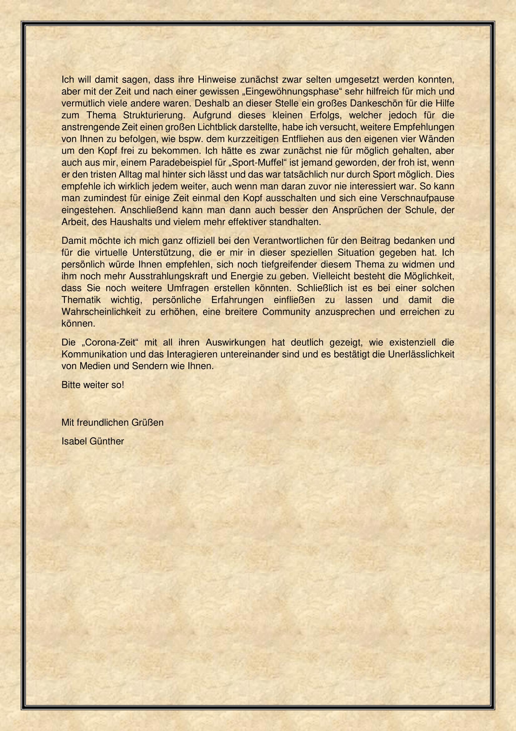 Leserbrief (Teil 2)